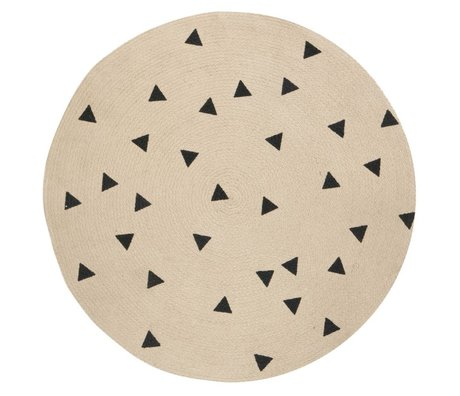 Ferm Living kids Kids Rug Triangle around natural black 100cm