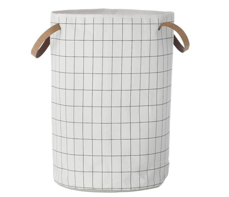 Ferm Living kids Child Pointing Mountain Basket Grid Basket black and white 40x60cm