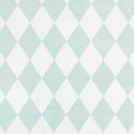 Ferm Living kids Kinderbehang Harlequin mint groen geruit 10,05x0,53m