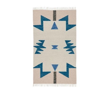 Ferm Living kids Children Kilim Rug Blue Triangles 2 sizes 80x140cm and 140x200cm