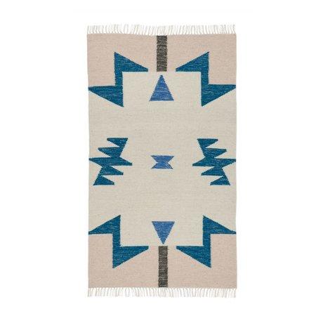 Ferm Living kids Kindervloerkleed Kelim Blue Triangles 2 maten 80x140cm en 140x200cm