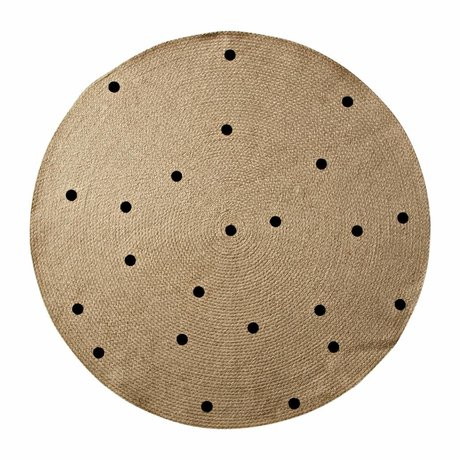 Ferm Living kids Kindervloerkleed Dots rond naturel zwart 100cm