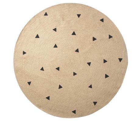 Ferm Living kids Kindervloerkleed Triangles rond naturel zwart 130cm