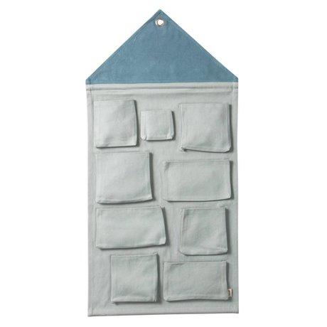 Ferm Living kids Kinderopbergzak House blauw katoen 50x98cm