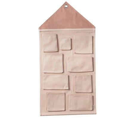 Ferm Living kids Kinderopbergzak House pink textile 50x98cm