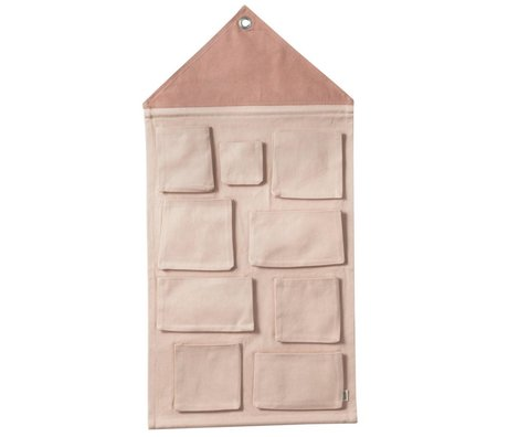 Ferm Living kids Kinderopbergzak House roze textiel 50x98cm