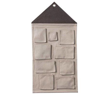 Ferm Living kids House Kinderopbergzak gray textile 50x98cm