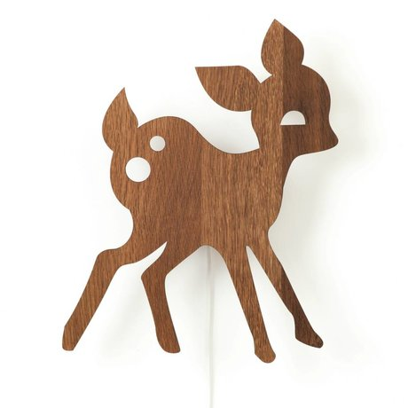 Ferm Living kids Children's wall lamp deer brown wood 29x38,5cm, My Deer
