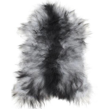 HK-living Sheepskin black / white +/- 55X90cm, Icelandic sheepskin gray