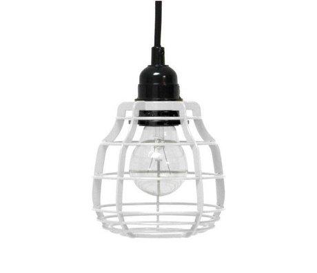 HK-living Kinderhanglamp LAB metaal wit met pendel 13x13x17cm