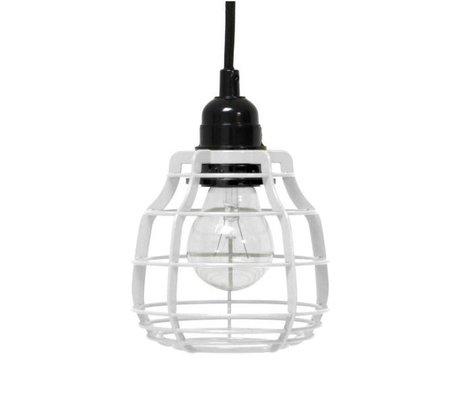 HK-living Kinderhanglamp LAB metaal wit met schakelaar 13x13x17cm