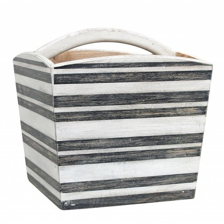HK-living Kinderopbergkist zwart wit gestreept mangohout 33x33x35cm
