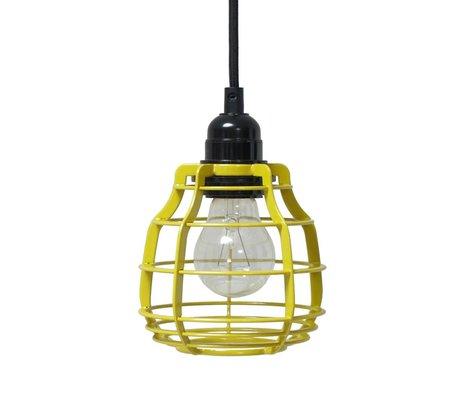 HK-living Kinderhanglamp LAB chartreuse geel met schakelaar metaal 13x13x17cm
