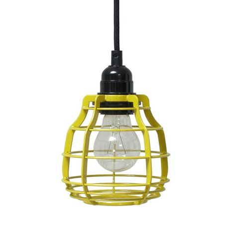HK-living Kids Lamp LAB chartreuse yellow switch with metal 13x13x17cm