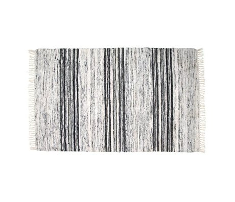 HK-living Kindervloerkleed zijde gerecycled zwart wit 120x180cm