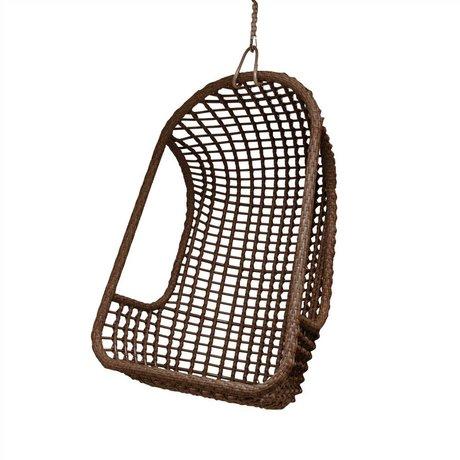 HK-living Kinderhangstoel bruin polyethyleen 77x55x110cm