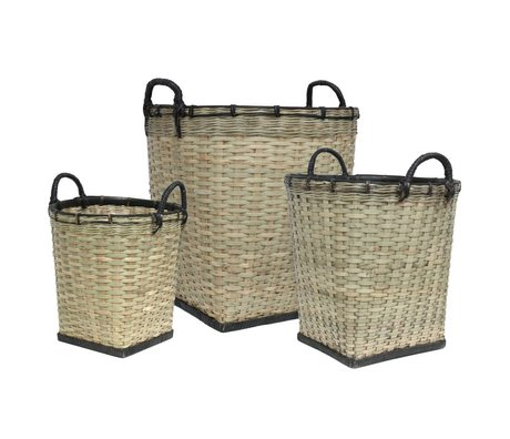 HK-living Kids Baskets set of three black bamboo light green 47x52 / 38x45 / 31x47cm