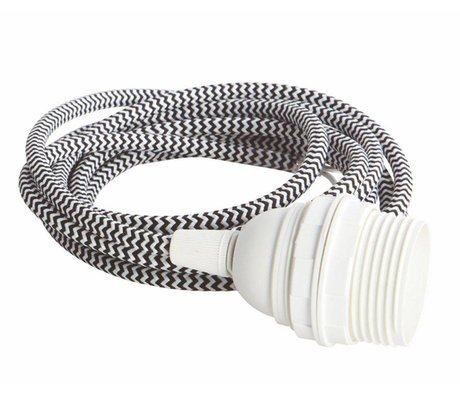 Housedoctor Electrical cord with fitting E27, white / black fabric wire, white cap, iron cord