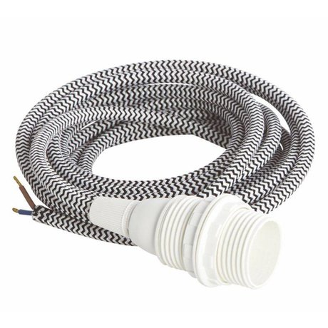 Housedoctor Snoer elektra met fitting E14, wit /zwart textiel, witte kleine fitting bakeliet, strijkijzersnoer 3meter