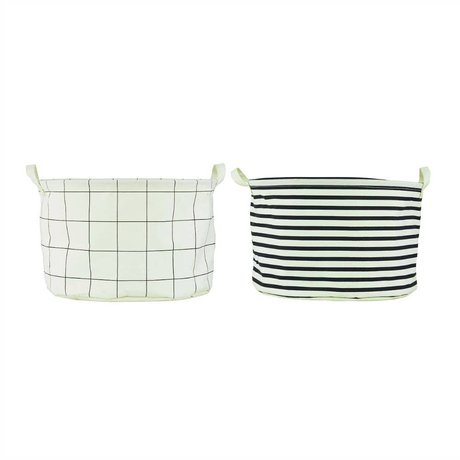 "Housedoctor Child Pointing Mountain Basket ""Squares and Stripes white / black cotton / polyester / rayon 40x25cm set of 2"