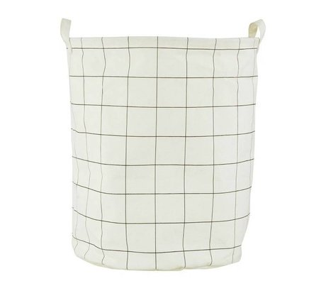 Housedoctor Child Pointing Mountain Basket 'Squares' white / black cotton / polyester / rayon 40x50cm