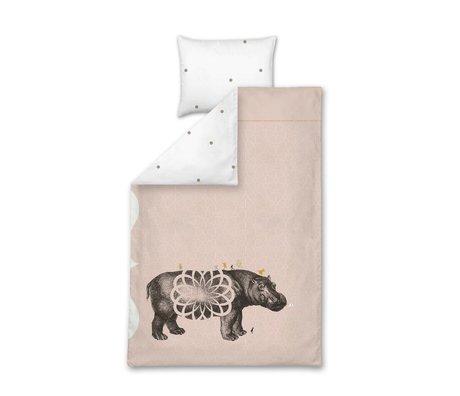 LEF collections Children's Well Popotamé pink cotton 140x200 / 220cm-60x70cm
