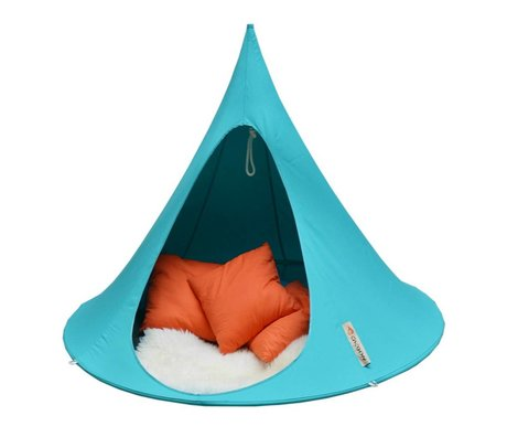 Cacoon Children Hangstoel tent Double 2 seater aqua blue 180x150cm