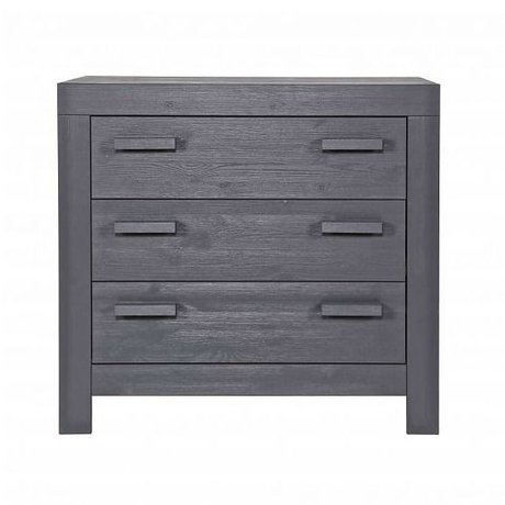 LEF collections Commode 'New life' pine brushed steel gray 95x52x91cm