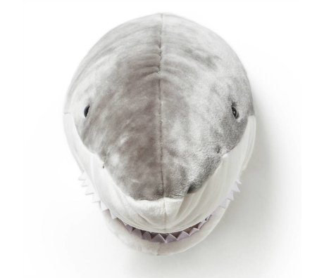 Wild & Soft Dierenkop haai Jack grijs 35x25x25