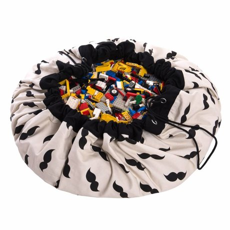 Play & Go Storage bag / playmat Mr. Mustache black and white cotton ø140cm