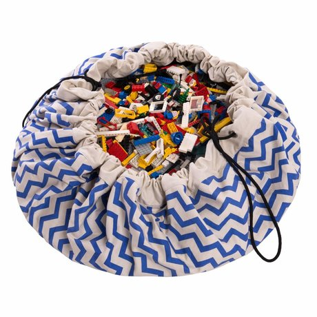 Play & Go Storage bag / playmat Zig Zag Blue blue cotton ø140cm