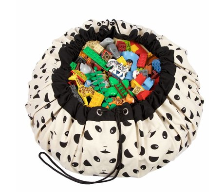 Play & Go Opbergzak/speelkleed Panda zwart wit katoen ø140cm