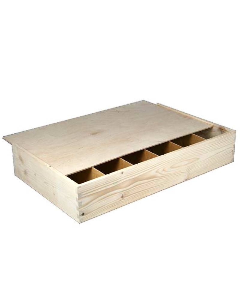 6-vaks houten kist, schuifdeksel