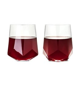 Viski Raye™ Faceted Crystal Wine Glass (Set of 2) by Viski