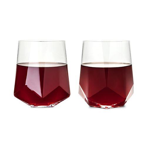 Viski Raye™ Faceted Crystal Wine Glass (Set of 2) by Viski