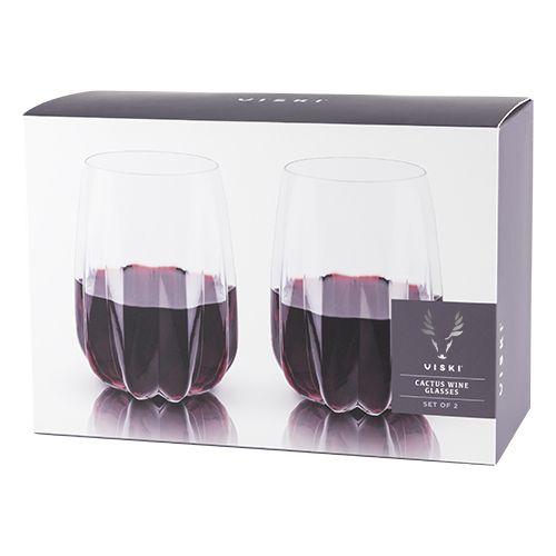 Viski Raye™ Cactus Crystal Wine Glass (Set of 2) by Viski
