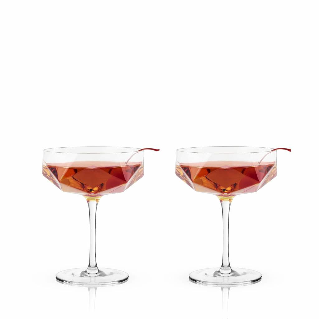 Viski Raye™ Faceted Crystal Coupes (Set of 2) by Viski