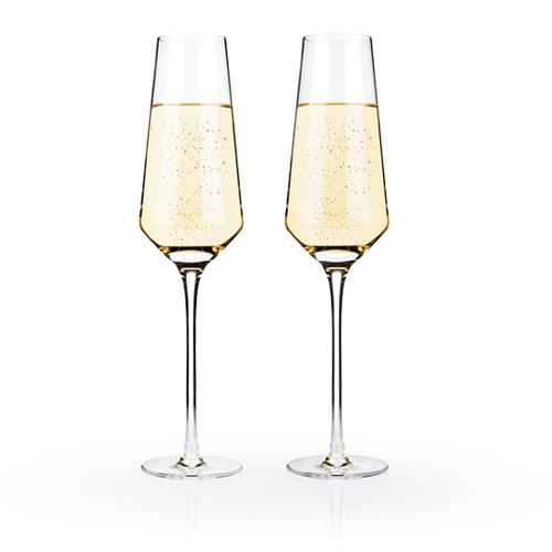 Viski Raye™ Crystal Champagne Flutes (Set of 2) by Viski