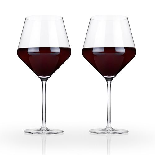 Viski Raye™ Crystal Burgundy Glasses (Set of 2) by Viski