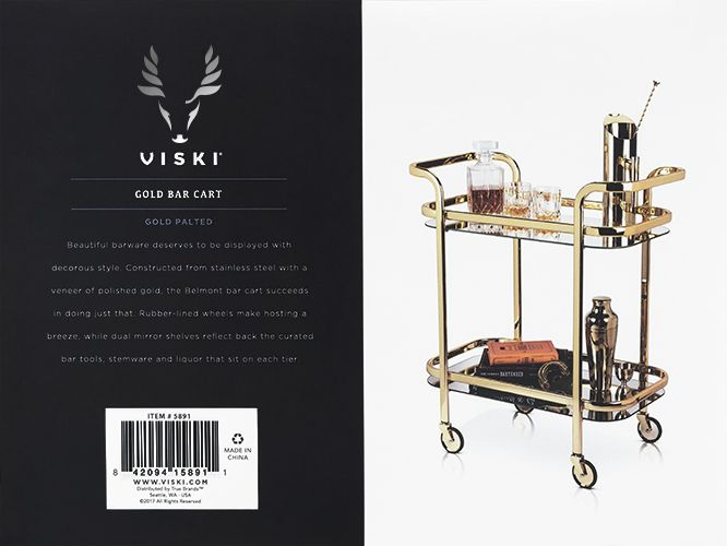 Viski Belmont™ Gold Bar Cart by Viski