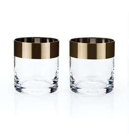 Viski Irving™ Bronze Rim Tumbler (Set of 2) by Viski