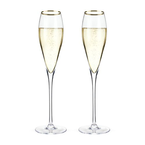 Viski Belmont™ Gold Rimmed Crystal Champagne Flutes (Set of 2) by Viski