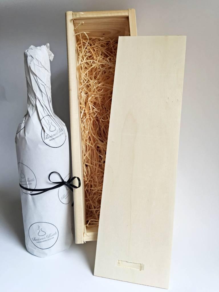 1-vaks houten wijnkist, schuifdeksel