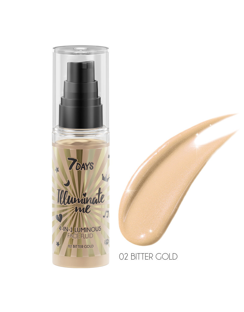 7DAYS Illuminate Me Miss Crazy 4 in 1 Illuminating Face Fluid (Shade 02 Bitter Gold) 50ml