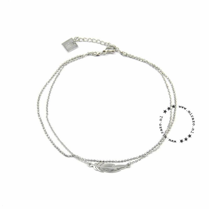 ZAG Bijoux jewellery ZAG Bijoux  dubbel enkelbandje - veer