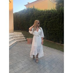 Boho long dress-off white
