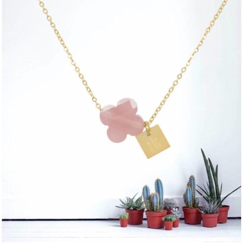 ZAG Bijoux  ZAG ketting klavertje roze goud