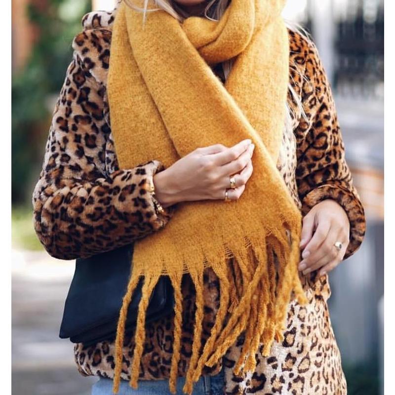 fall scarf- oker geel sjaal