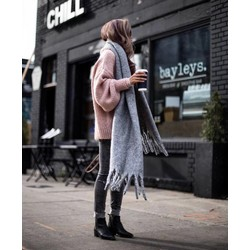 big  fall scarf- grey