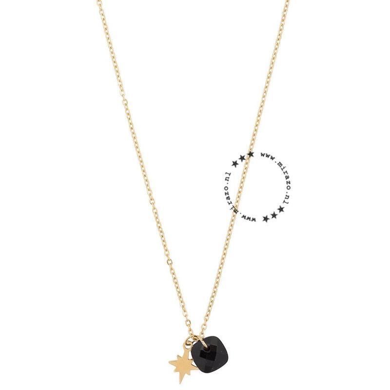 ZAG Bijoux jewellery  ZAG Bijoux ketting- zwarte steen en sterretje- goud
